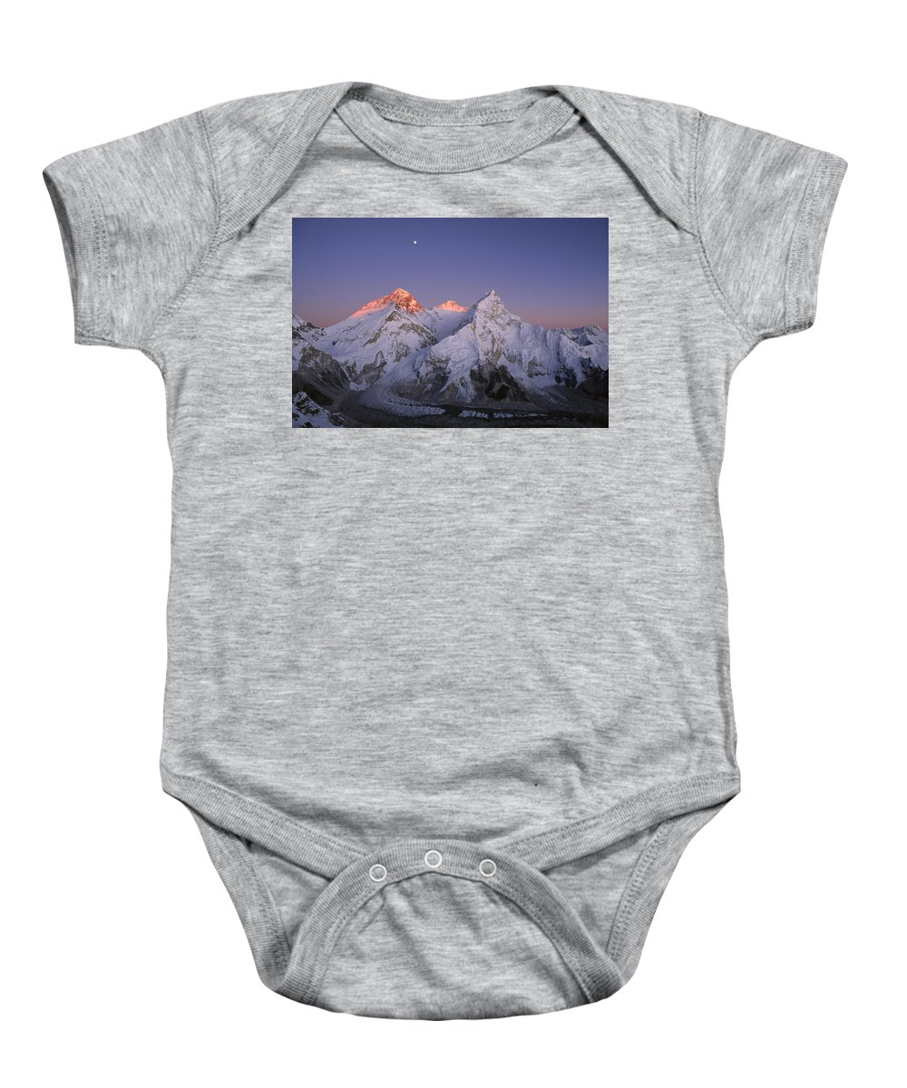 Feb0514 Baby Onesie featuring the photograph Moon Over Mount Everest Summit by Grant Dixon