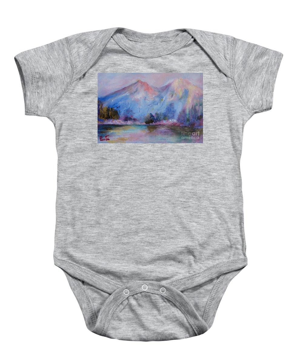 Landscape Baby Onesie featuring the painting Mountain Vista 2 by Pusita Gibbs