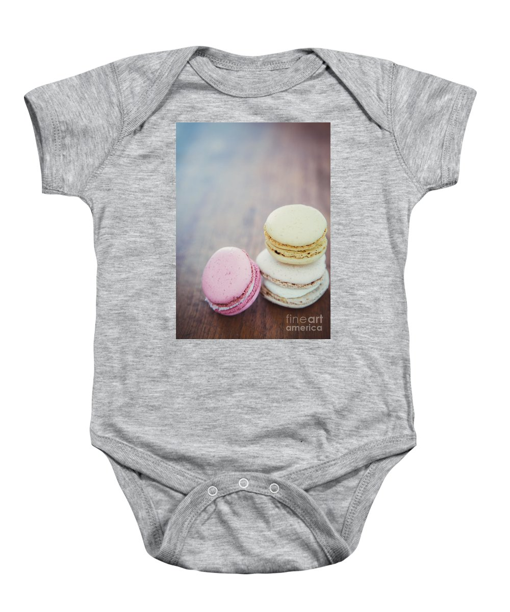 Macarons Baby Onesie featuring the photograph Pastel Macarons II by Mary Smyth