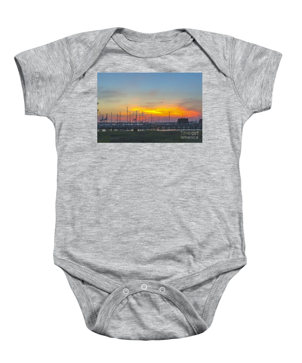 Sunset Baby Onesie featuring the photograph Patriots Point Sunset by Dale Powell