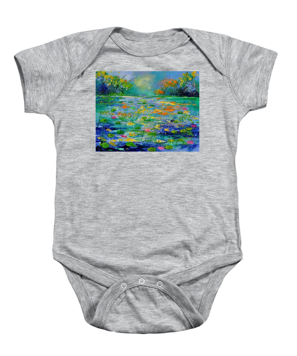 Landscape Baby Onesie featuring the painting Pond 454190 by Pol Ledent