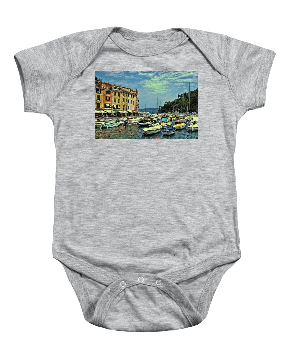Resort Baby Onesie featuring the photograph Portofino Harbor by Allen Beatty
