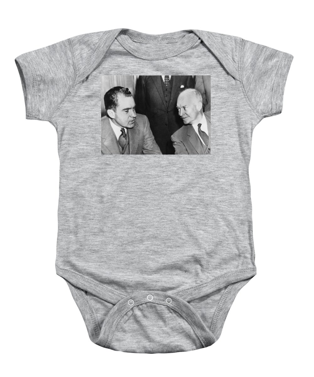 1960 Baby Onesie featuring the photograph President Eisenhower And Nixon by Underwood Archives