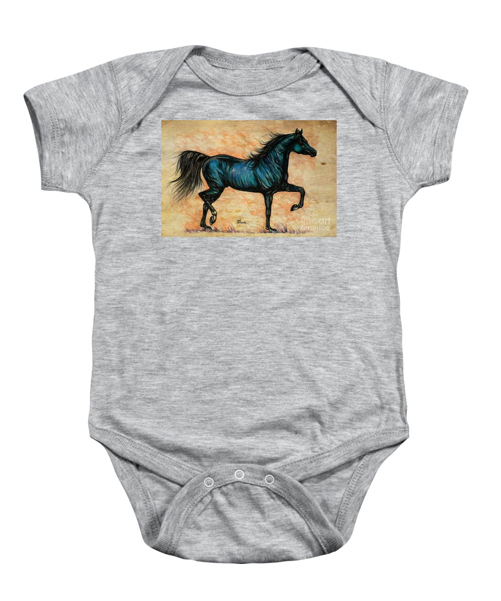 Horse Baby Onesie featuring the painting Psychedelic Blue by Angel Ciesniarska
