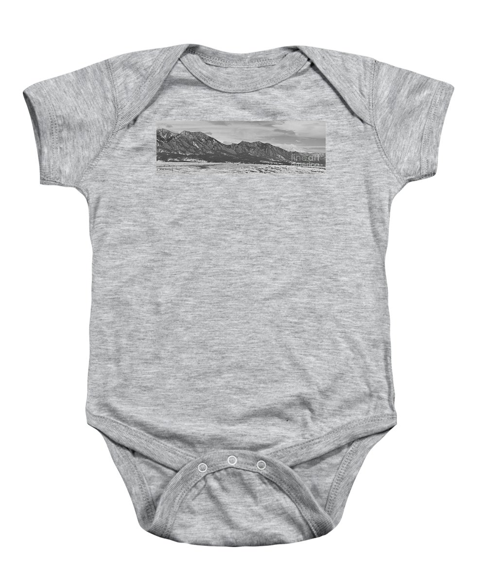 Rocky Mountains Baby Onesie featuring the photograph Rocky Mountains Flatirons And Longs Peak Panorama Boulder by James BO Insogna