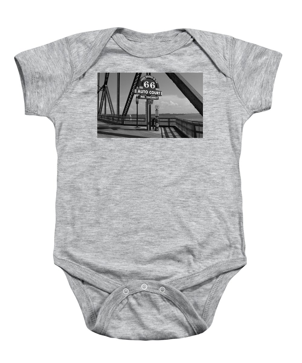 66 Baby Onesie featuring the photograph Route 66 - Chain Of Rocks Bridge And Gas Pump by Frank Romeo