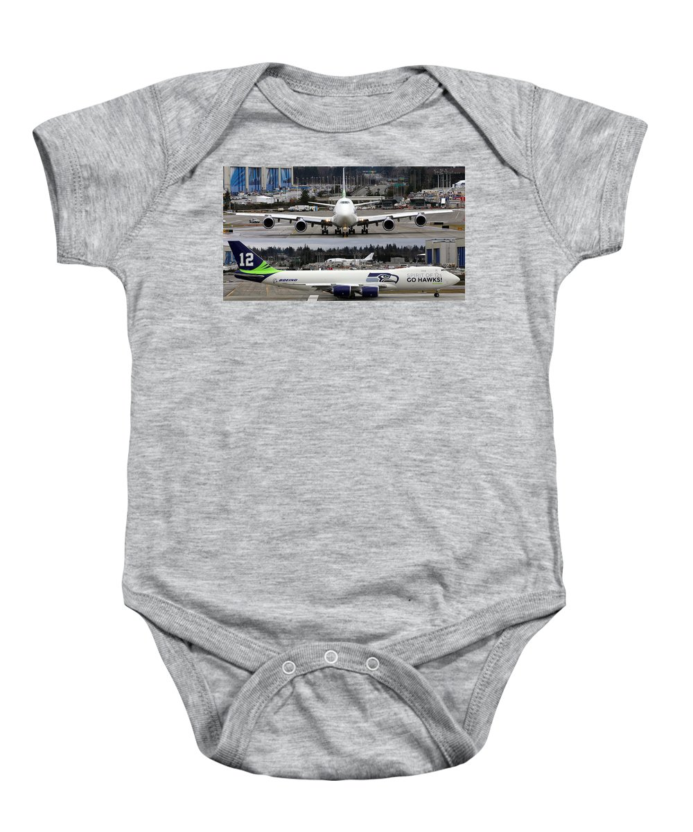 Boeing Baby Onesie featuring the photograph Seahawks 747 by Paul Fell