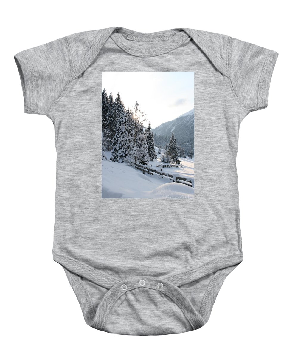 Snow Baby Onesie featuring the photograph Snowy Trees by Christiane Schulze Art And Photography