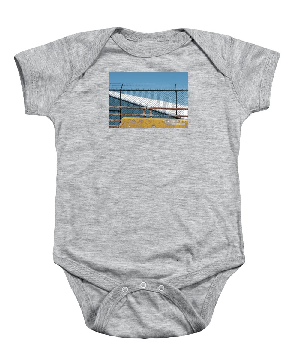 Fence Baby Onesie featuring the photograph Stay Out by Ann Horn