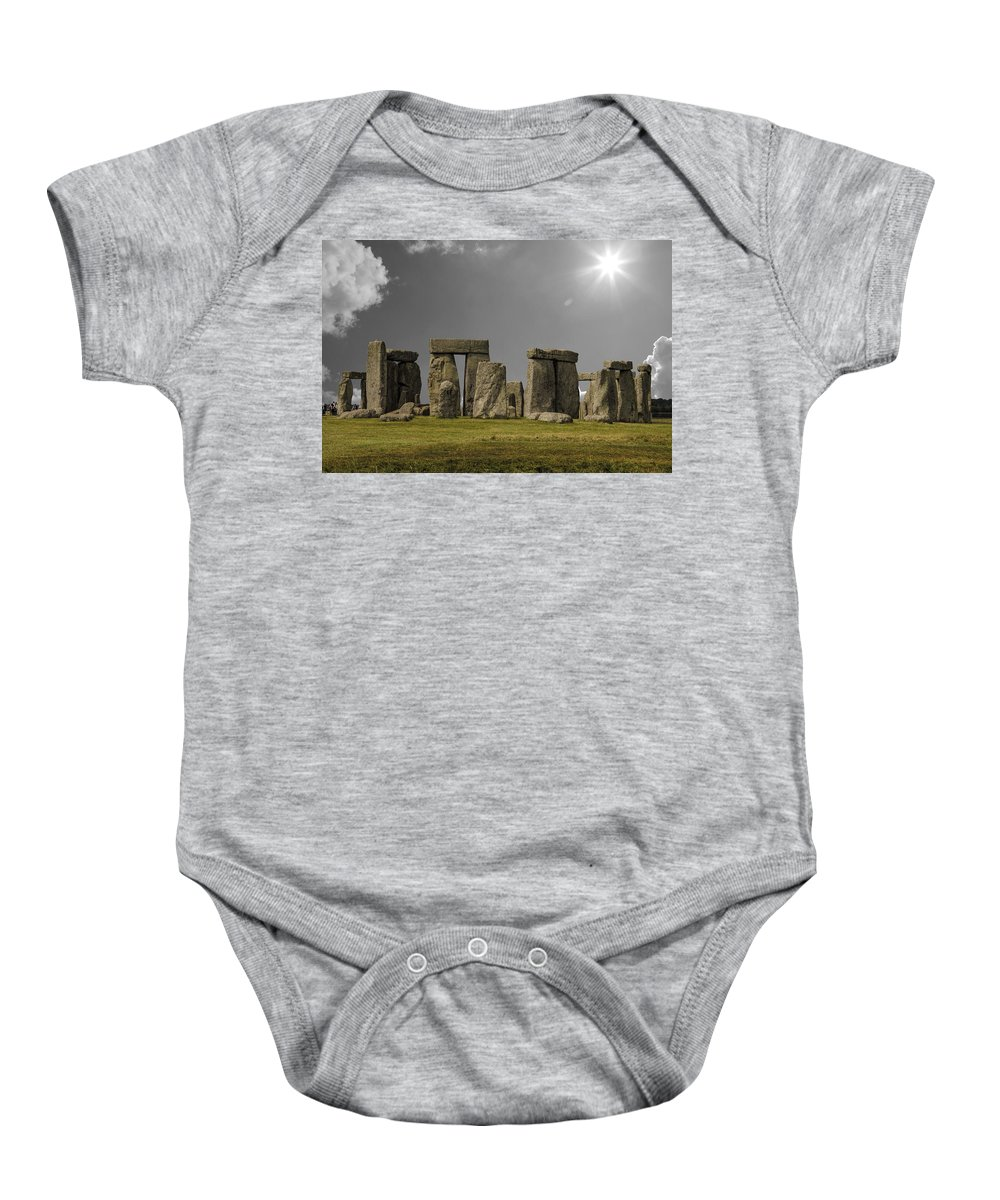 Stonehenge Baby Onesie featuring the photograph Stonehenge by Martin Newman