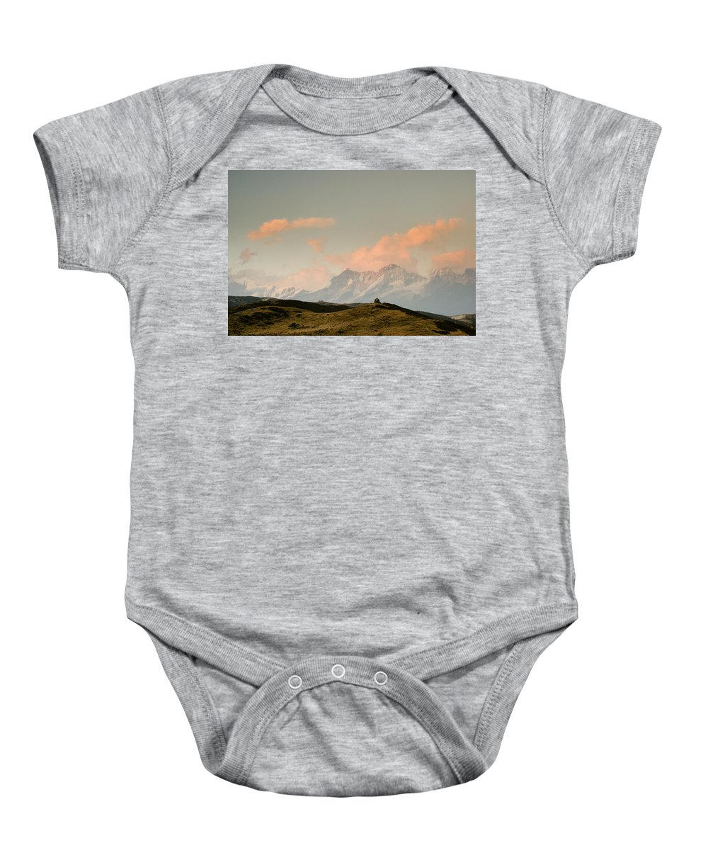 Himalayas Baby Onesie featuring the photograph Stupas And The Himalayas by Helix Games Photography