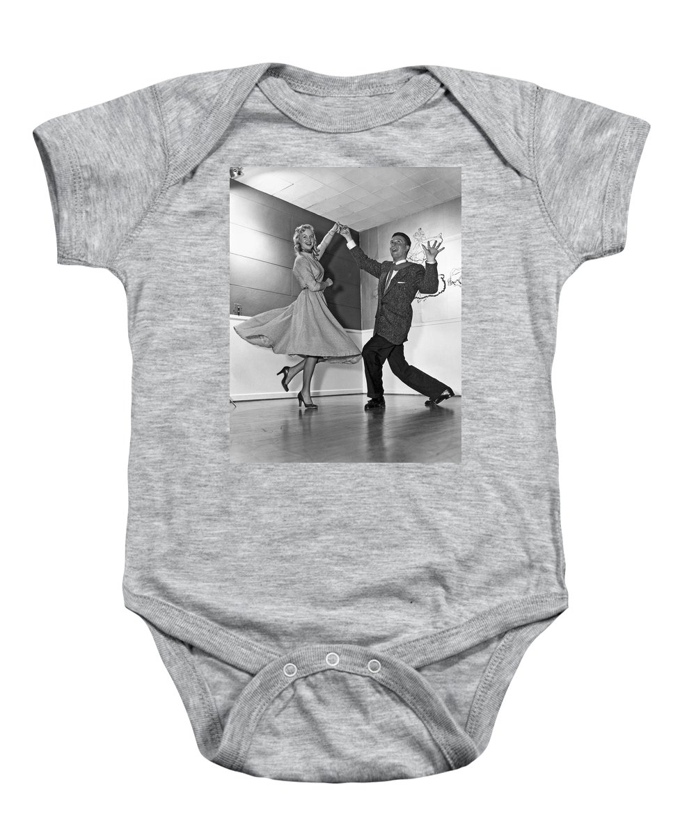 1958 Baby Onesie featuring the photograph Swing Dancing Couple by Underwood Archives