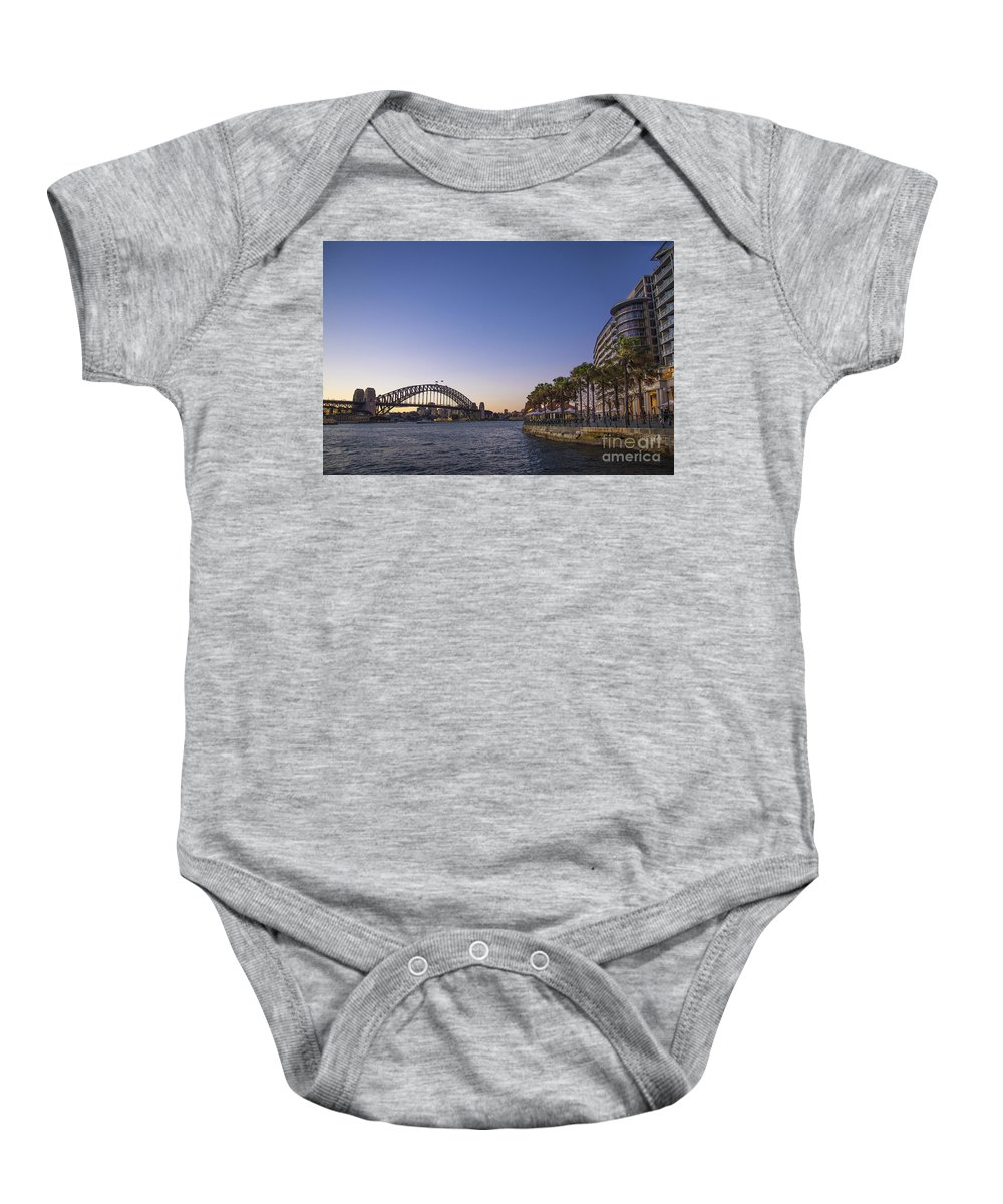 Architecture Baby Onesie featuring the photograph Sydney Harbour In Australia By Night by Jacek Malipan