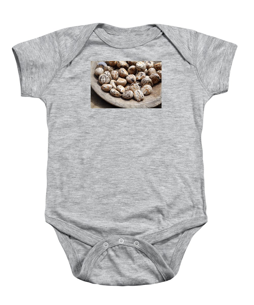 Tagua Nuts Baby Onesie featuring the photograph Tagua Nuts In A Wood Dish by Norman Pogson