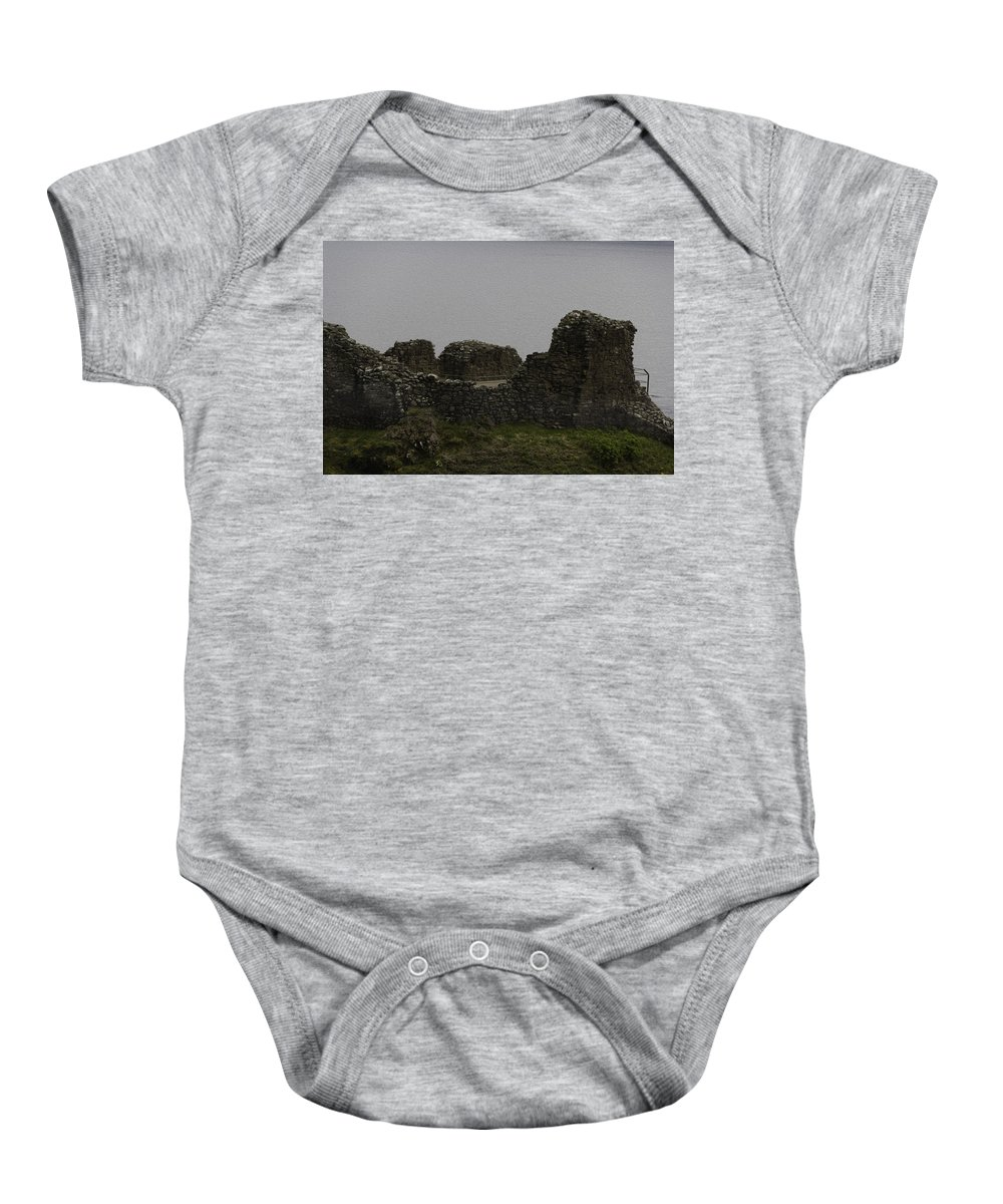 Ancient Structure Baby Onesie featuring the digital art The Battered Remains Of The Urquhart Castle In Scotland by Ashish Agarwal