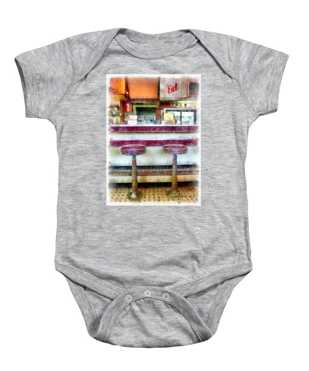 Diner Baby Onesie featuring the photograph The Four Aces Diner by Edward Fielding