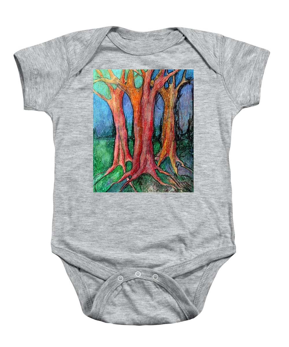 Colour Baby Onesie featuring the pastel They Came To Me About Dawn by Wojtek Kowalski