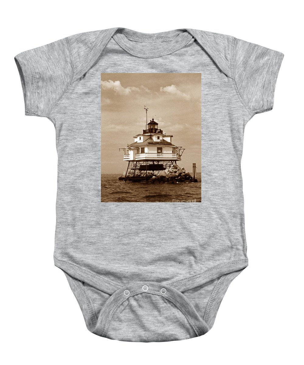 Lighthouses Baby Onesie featuring the photograph Thomas Point Shoal Lighthouse Sepia No. 2 by Skip Willits