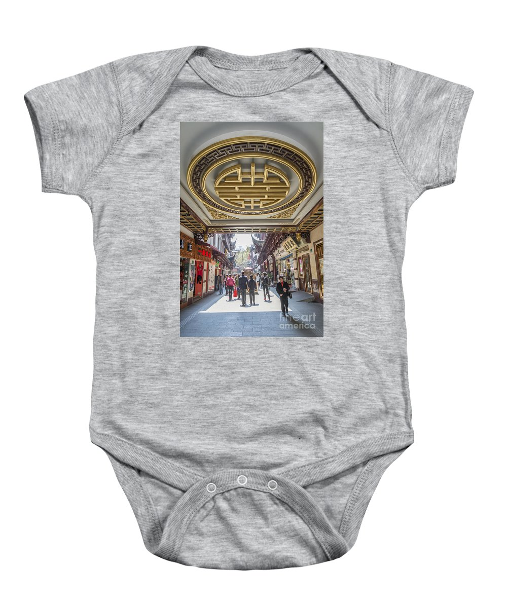 Architecture Baby Onesie featuring the photograph Traditional Shopping Area In Shanghai China by Jacek Malipan
