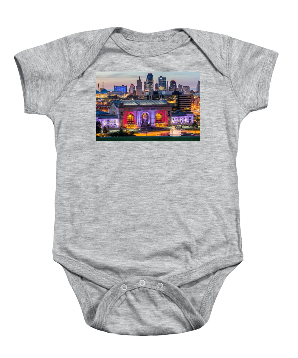 Kansas City Baby Onesie featuring the photograph Union Station by Ken Kobe