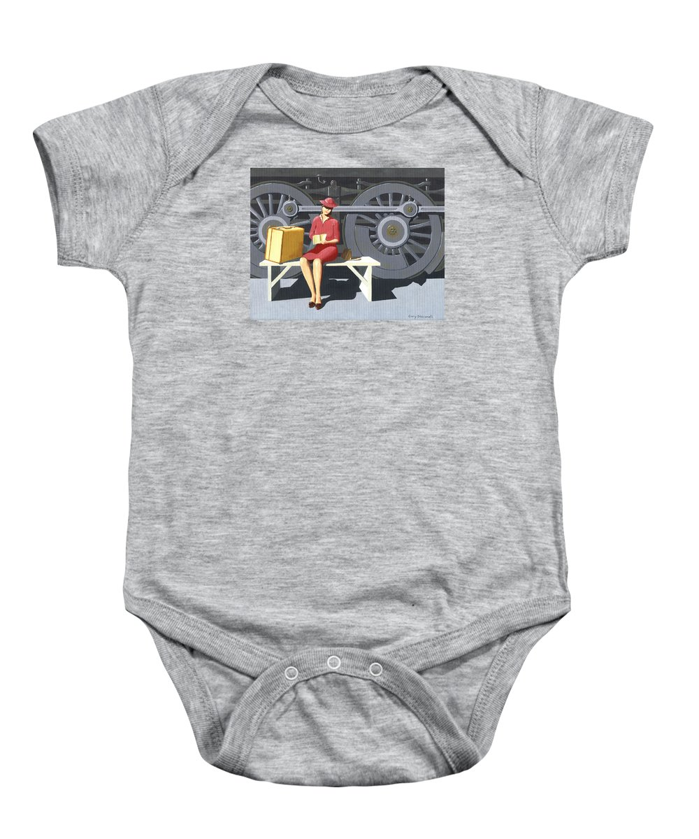 Woman Baby Onesie featuring the painting Woman With Locomotive by Gary Giacomelli