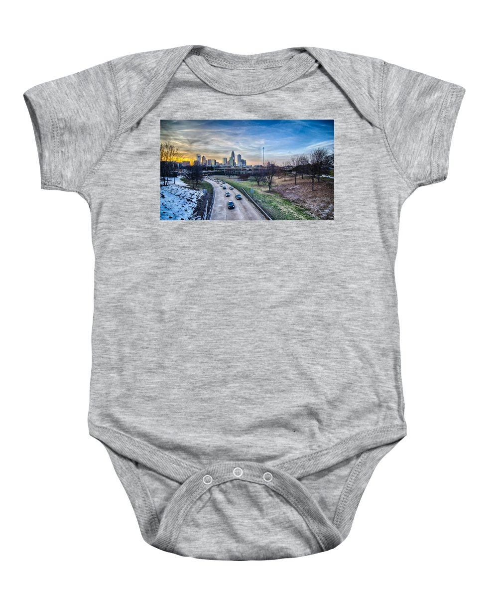Sunset Baby Onesie featuring the photograph Charlotte Downtown by Alex Grichenko