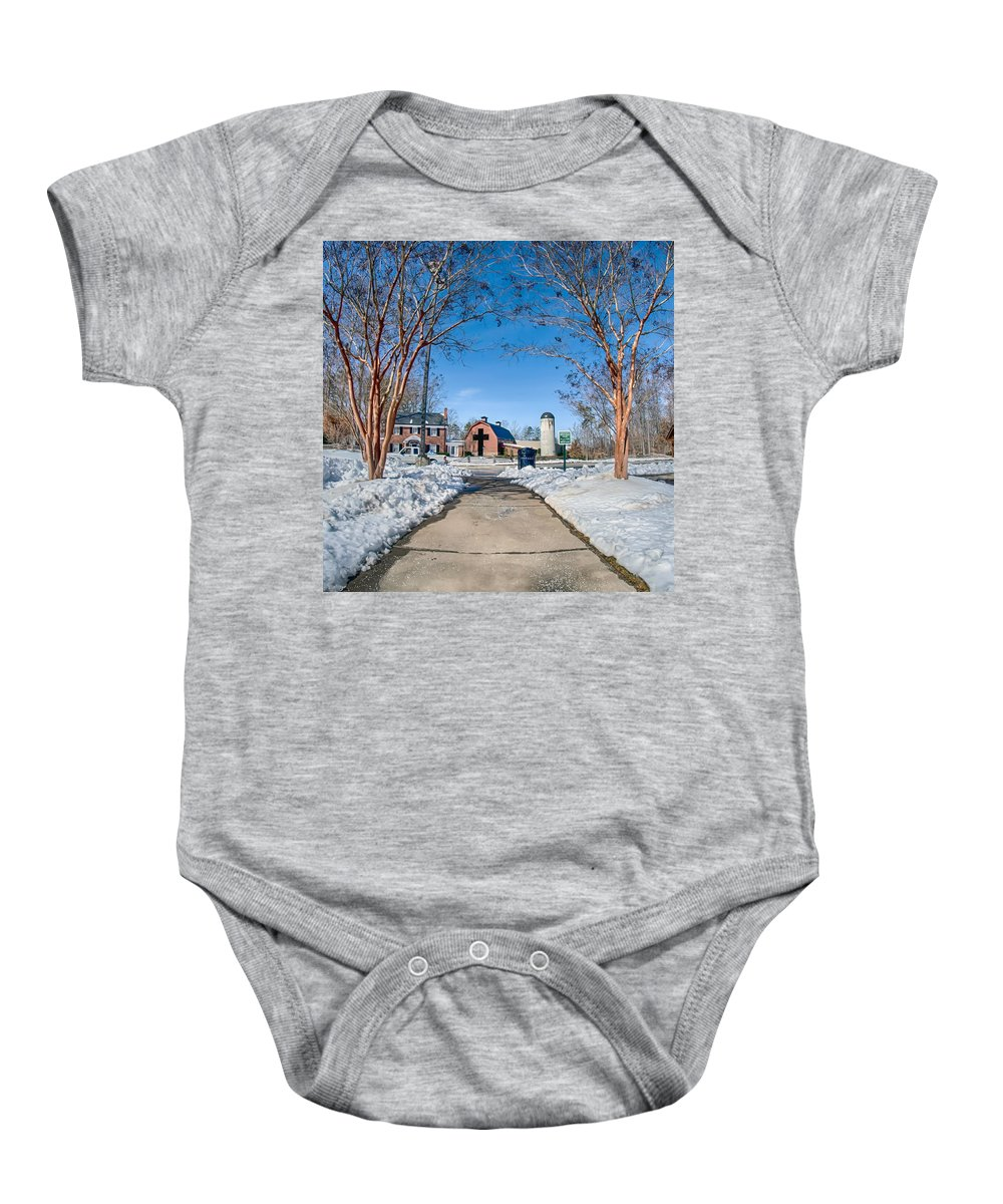 Snow Baby Onesie featuring the photograph Snow Around Billy Graham Library After Winter Storm by Alex Grichenko