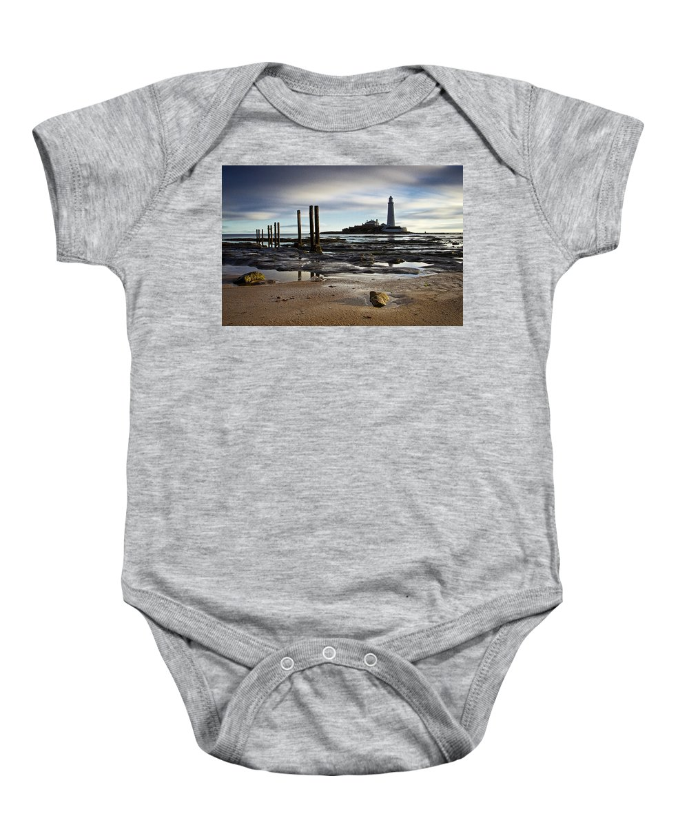 St Marys Baby Onesie featuring the photograph St Marys Lighthouse by David Pringle