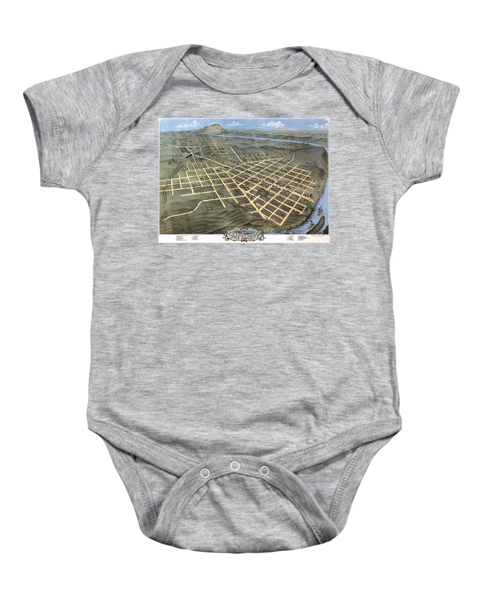 Map Baby Onesie featuring the photograph 1871 Birds Eye Map Of Chattanooga by Stephen Stookey