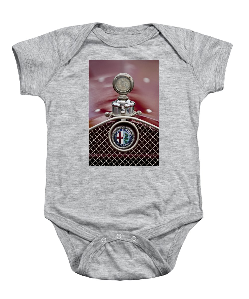 1931 Alfa-romeo Baby Onesie featuring the photograph 1931 Alfa-romeo Hood Ornament by Jill Reger