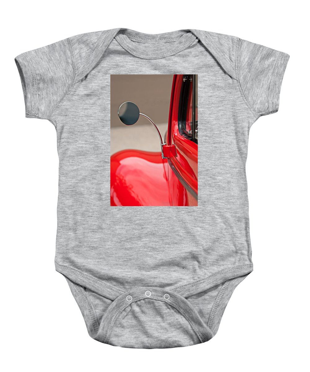 1940 Ford Deluxe Coupe Rear View Mirror Baby Onesie featuring the photograph 1940 Ford Deluxe Coupe Rear View Mirror by Jill Reger