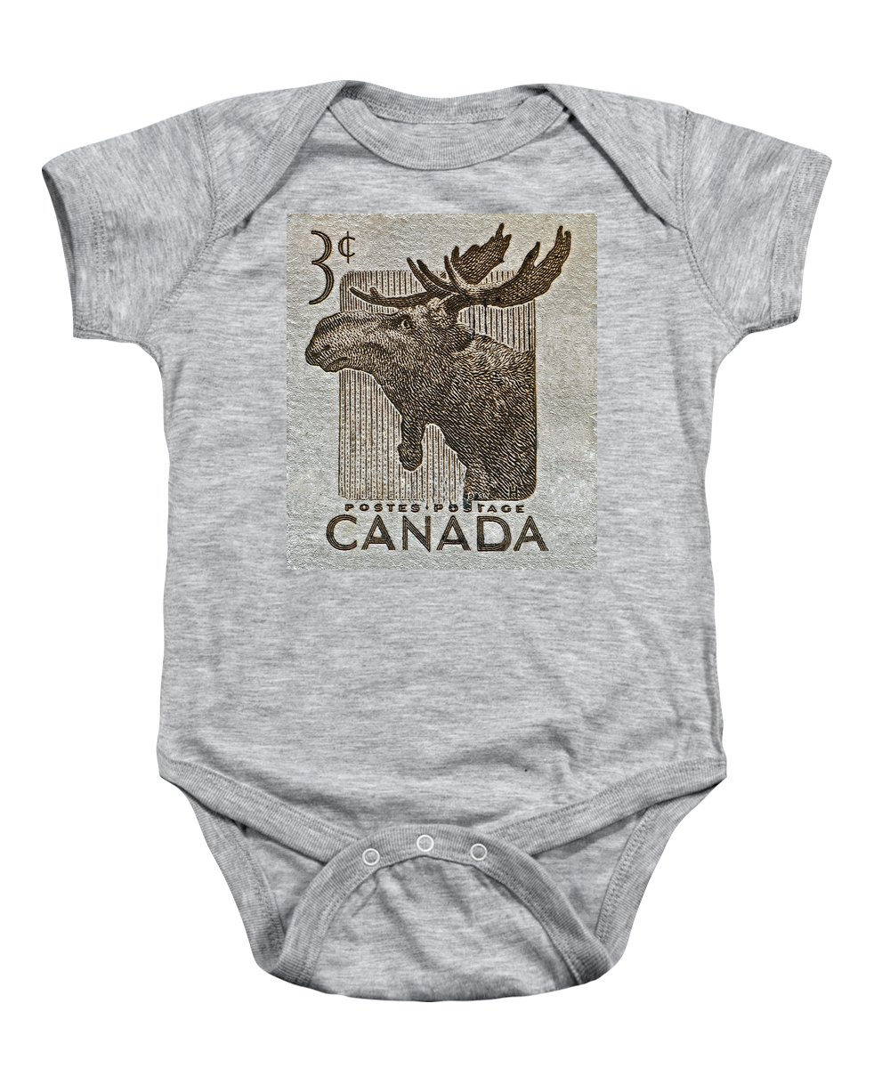 1957 Baby Onesie featuring the photograph 1953 Canada Moose Stamp by Bill Owen