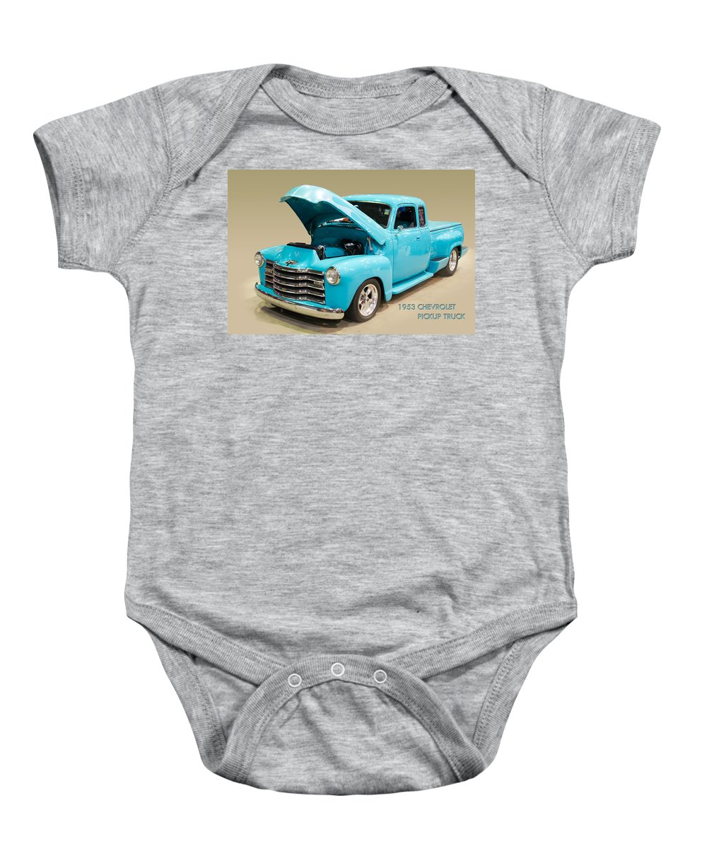Gmc Pickup Truck Baby Onesie featuring the photograph 1953 Gmc Pickup Truck by J Darrell Hutto