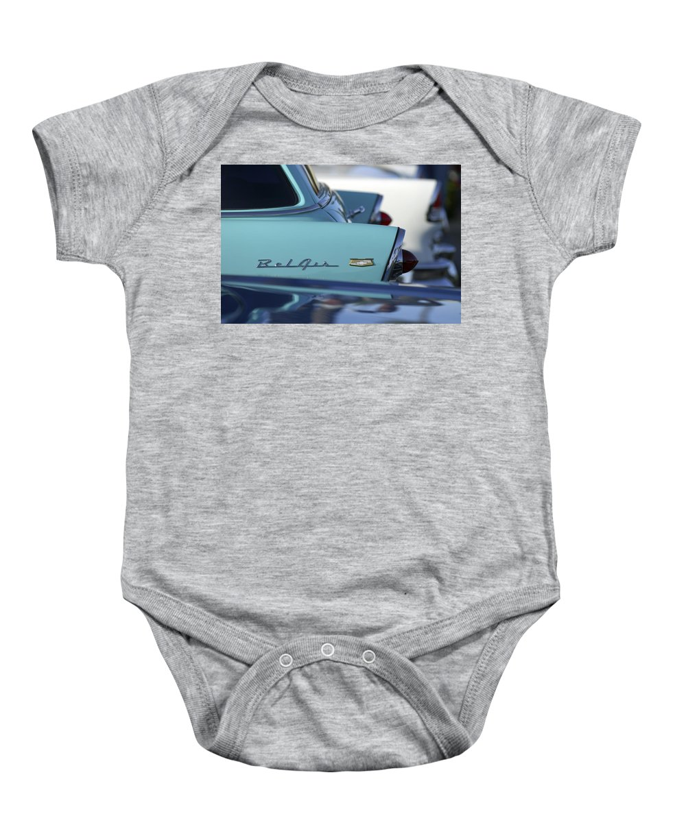 Car Baby Onesie featuring the photograph 1956 Chevrolet Belair Nomad Rear End by Jill Reger
