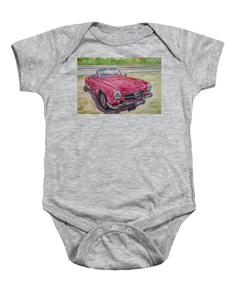 Watercolor Baby Onesie featuring the painting 1962 Mercedes Benz 190sl by Anna Ruzsan