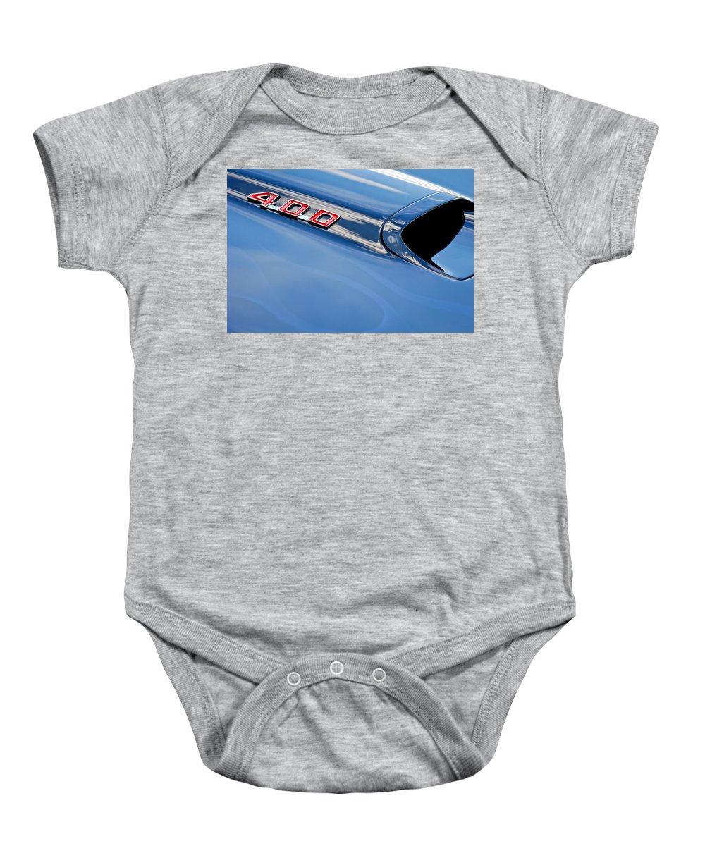 1969 Pontiac Firebird 400 Hood Emblem Baby Onesie featuring the photograph 1969 Pontiac Firebird 400 Hood by Jill Reger