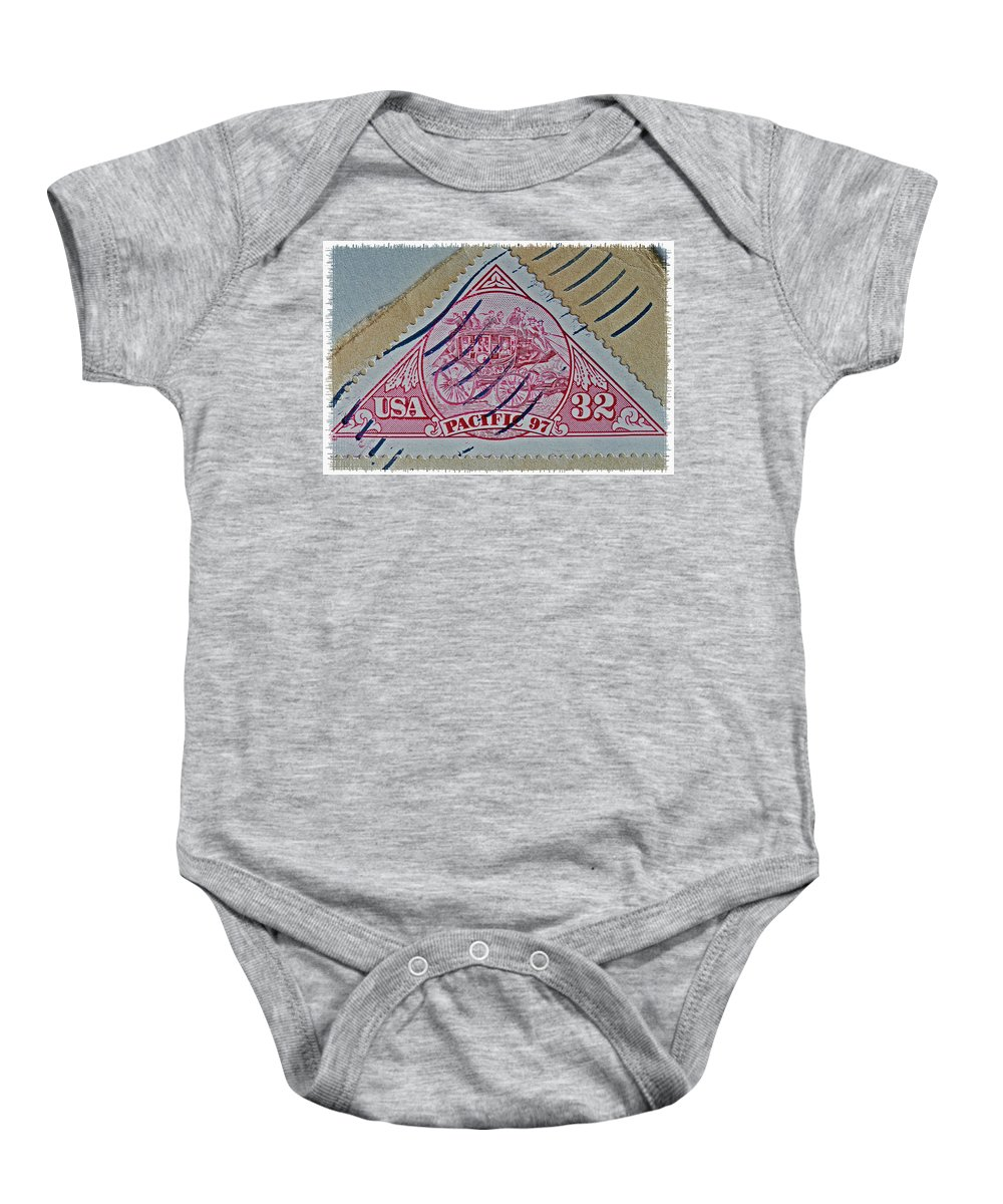 1997 Pacific Baby Onesie featuring the photograph 1997 Pacific Stagecoach Stamp by Bill Owen