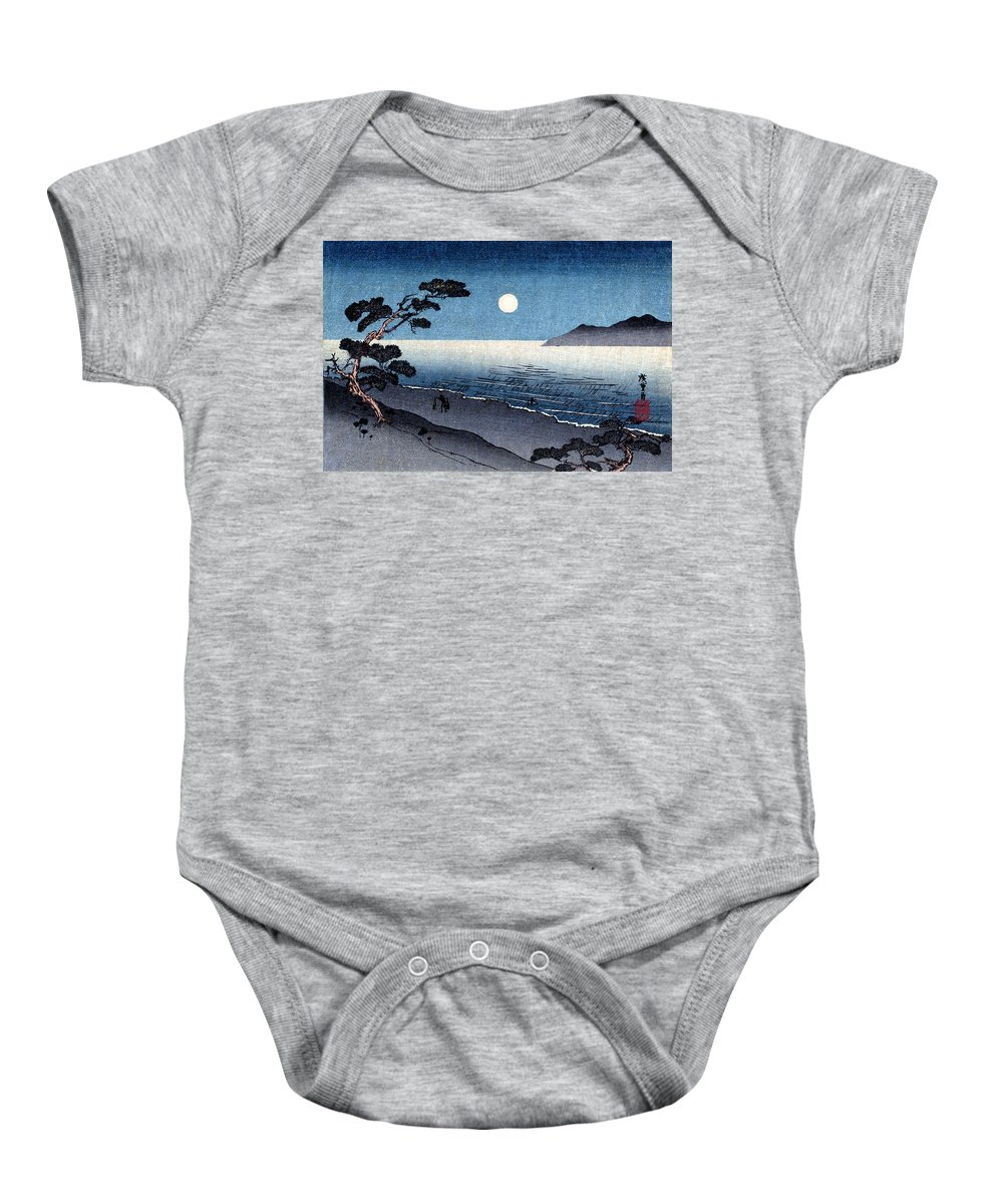 Historicimage Baby Onesie featuring the painting 19th C. Moonlit Japanese Beach by Historic Image