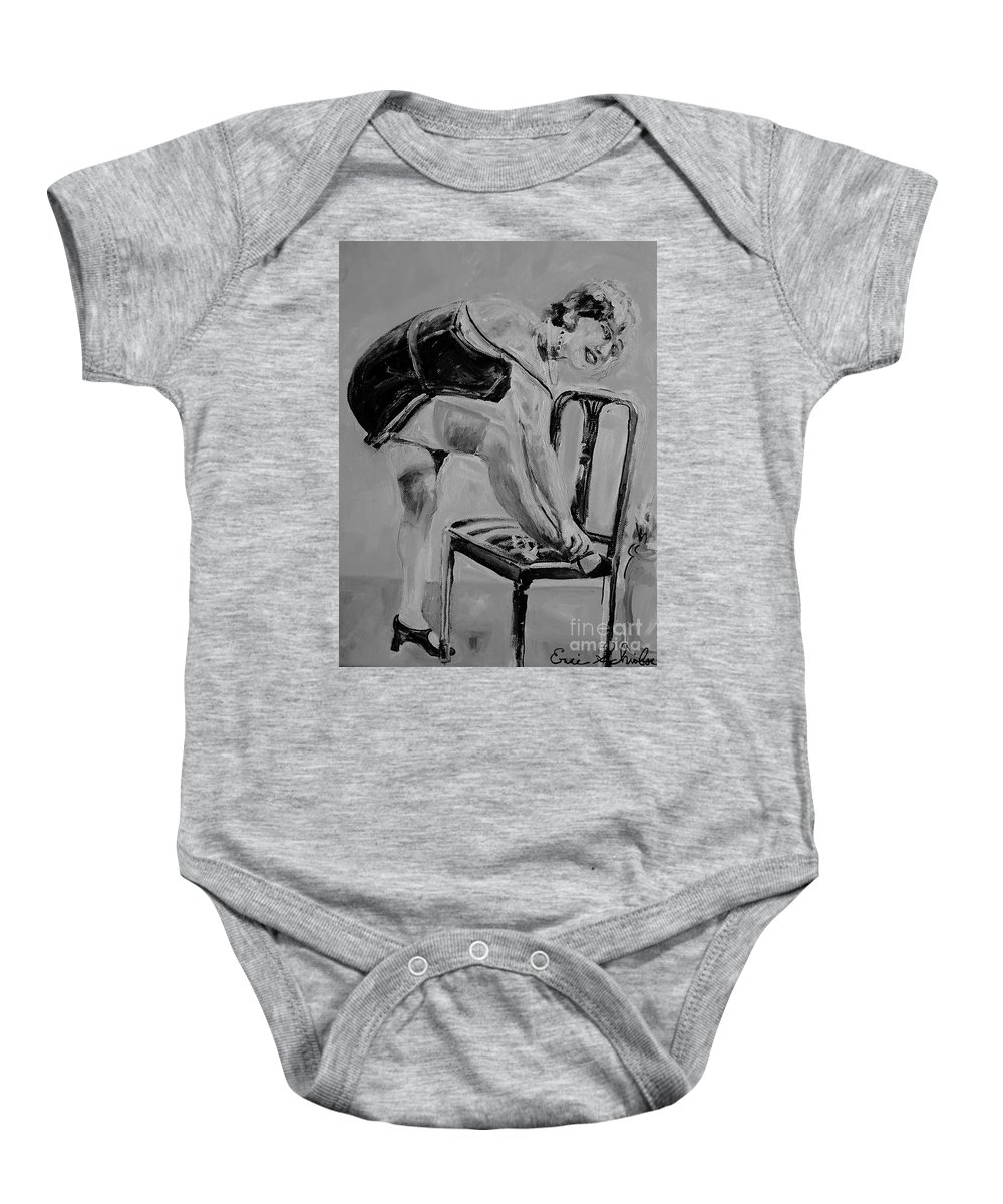 1920s Baby Onesie featuring the painting 1920s Girl Black And White by Eric Schiabor
