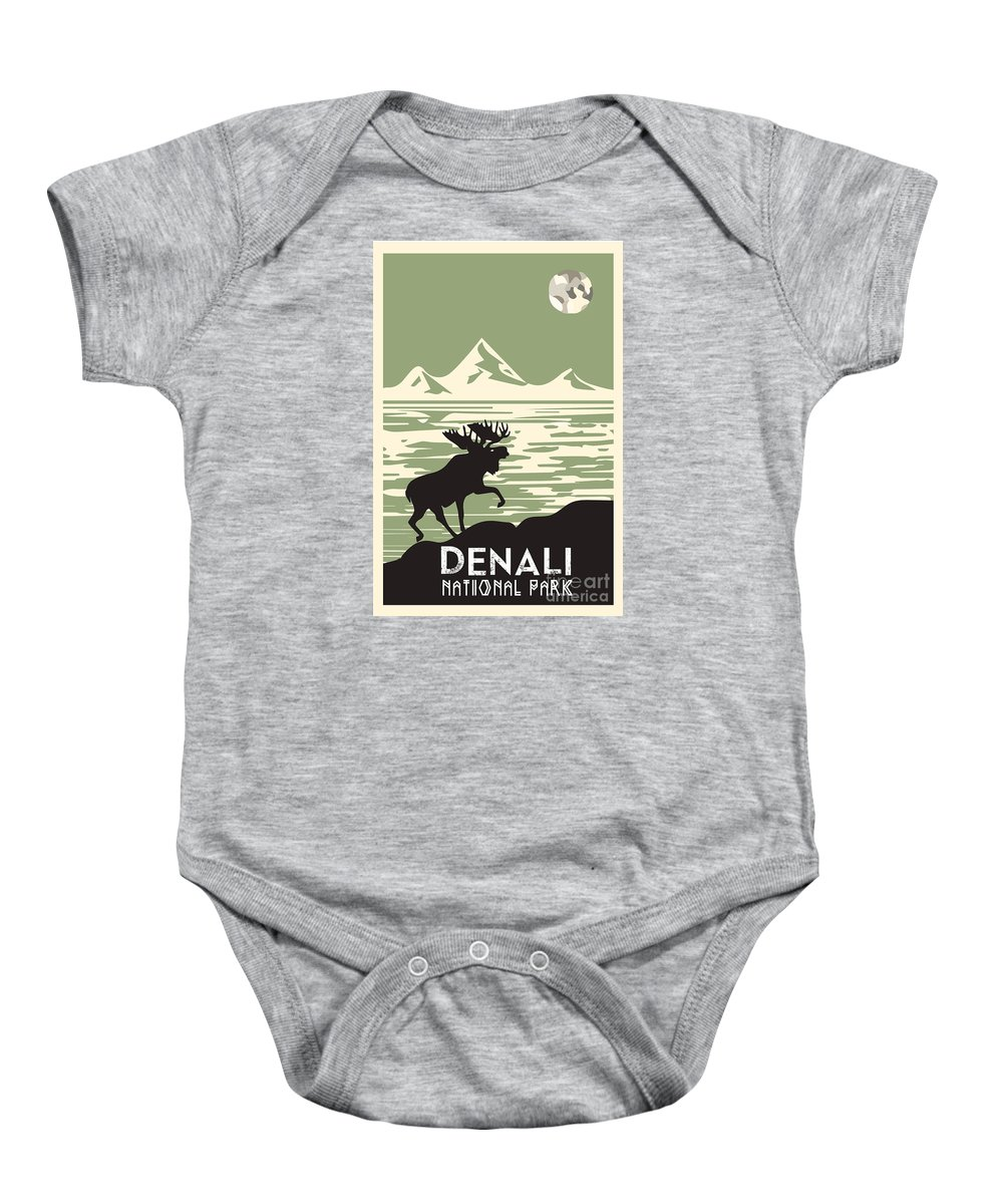 Mountain Baby Onesie featuring the digital art Alaska Denali National Park Poster by Celestial Images
