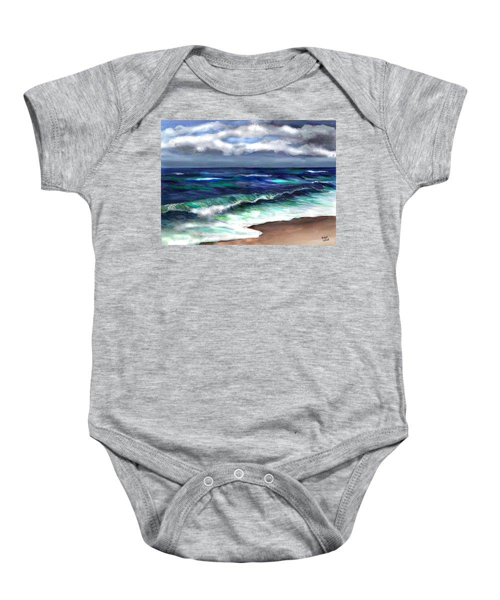 Atlantic Baby Onesie featuring the painting Atlantic by Clara Sue Beym