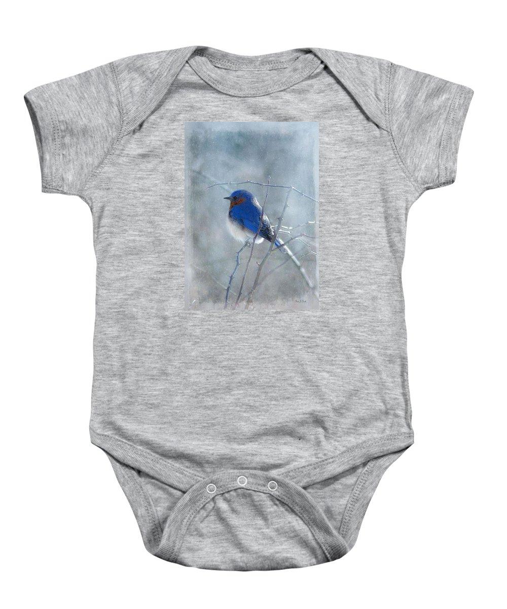 Birds Baby Onesie featuring the photograph Blue Bird by Fran J Scott