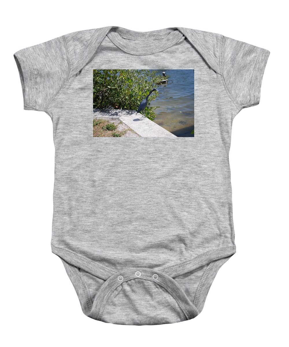 Hunting Food Baby Onesie featuring the photograph Blue Heron by Robert Floyd