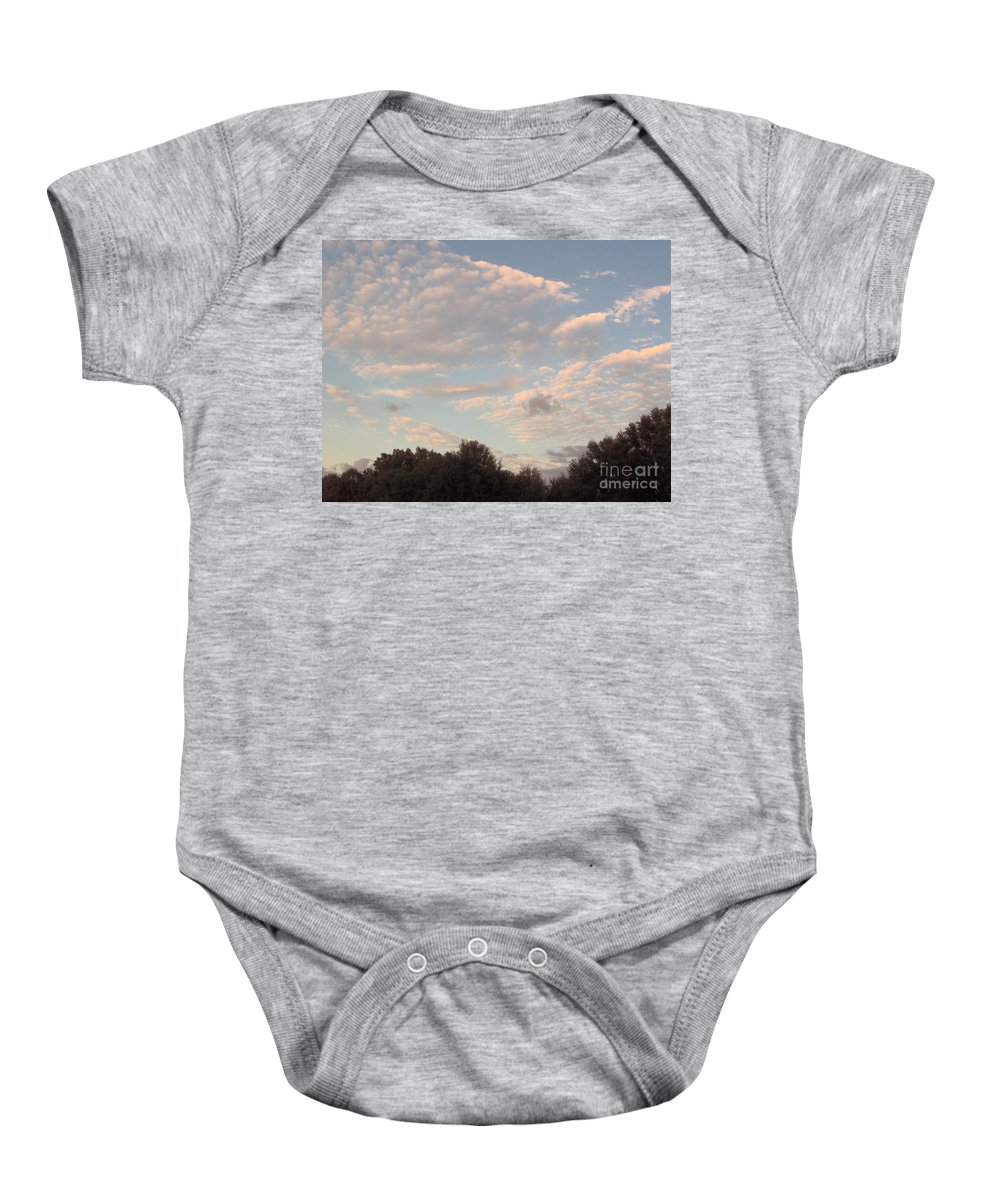 Clouds Baby Onesie featuring the photograph Clouds Above The Trees by D Hackett