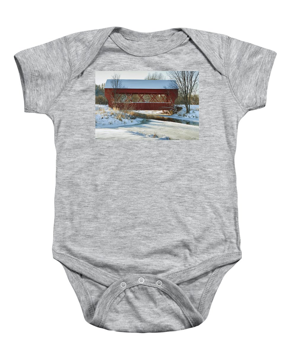 Bridge Baby Onesie featuring the photograph Covered Bridge by Eunice Gibb