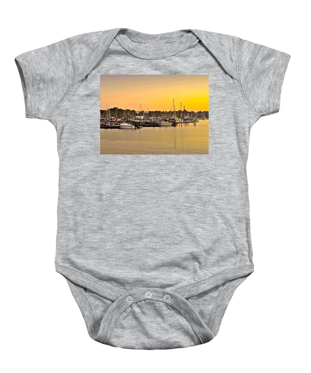 Dock Baby Onesie featuring the photograph Dock Of The Bay by Frozen in Time Fine Art Photography