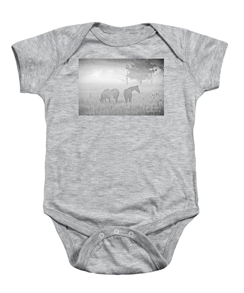 Landscape Baby Onesie featuring the photograph Horses In The Fog by Cheryl Baxter