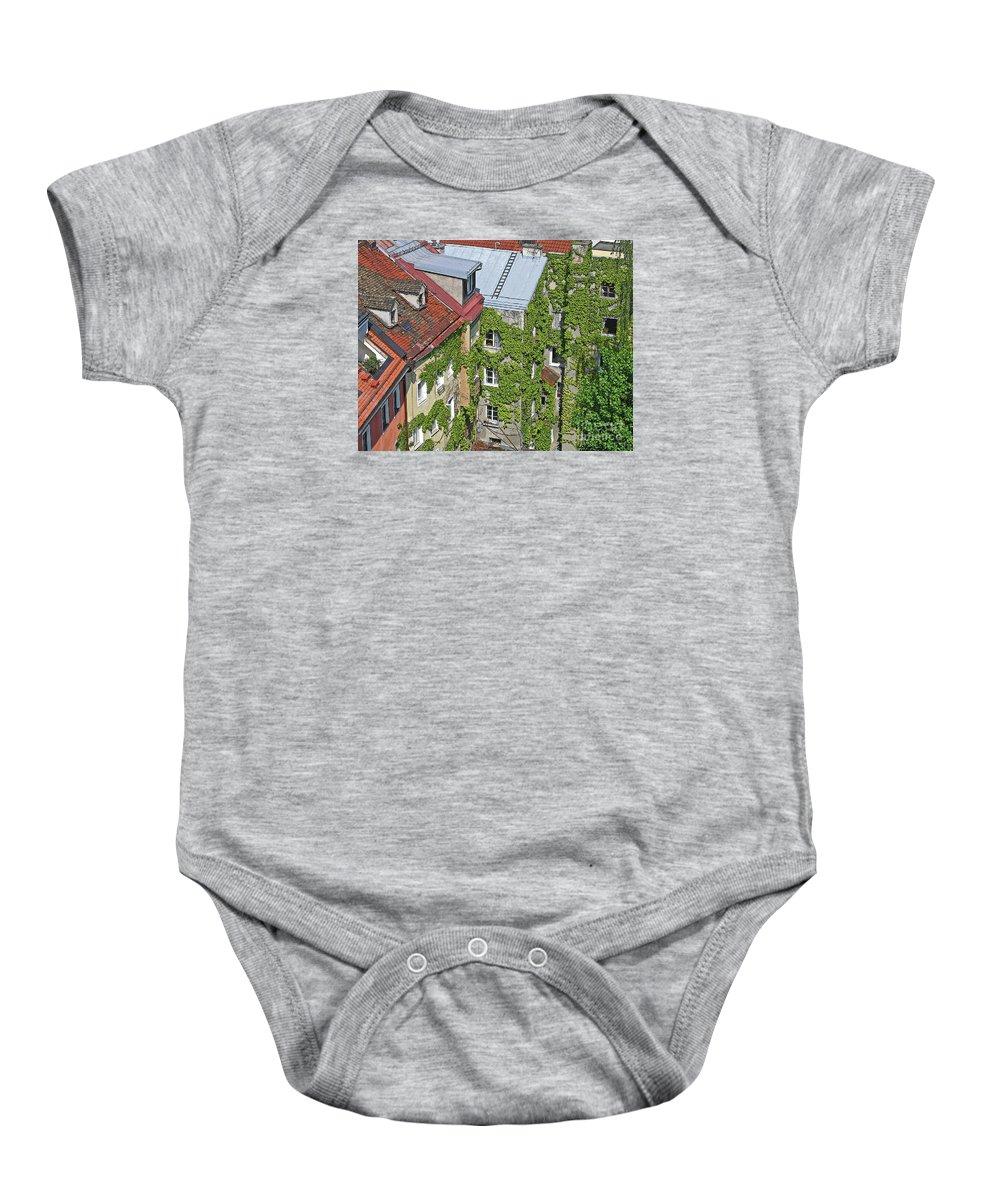 Innsbruck Baby Onesie featuring the photograph Ivy Courtyard by Ann Horn