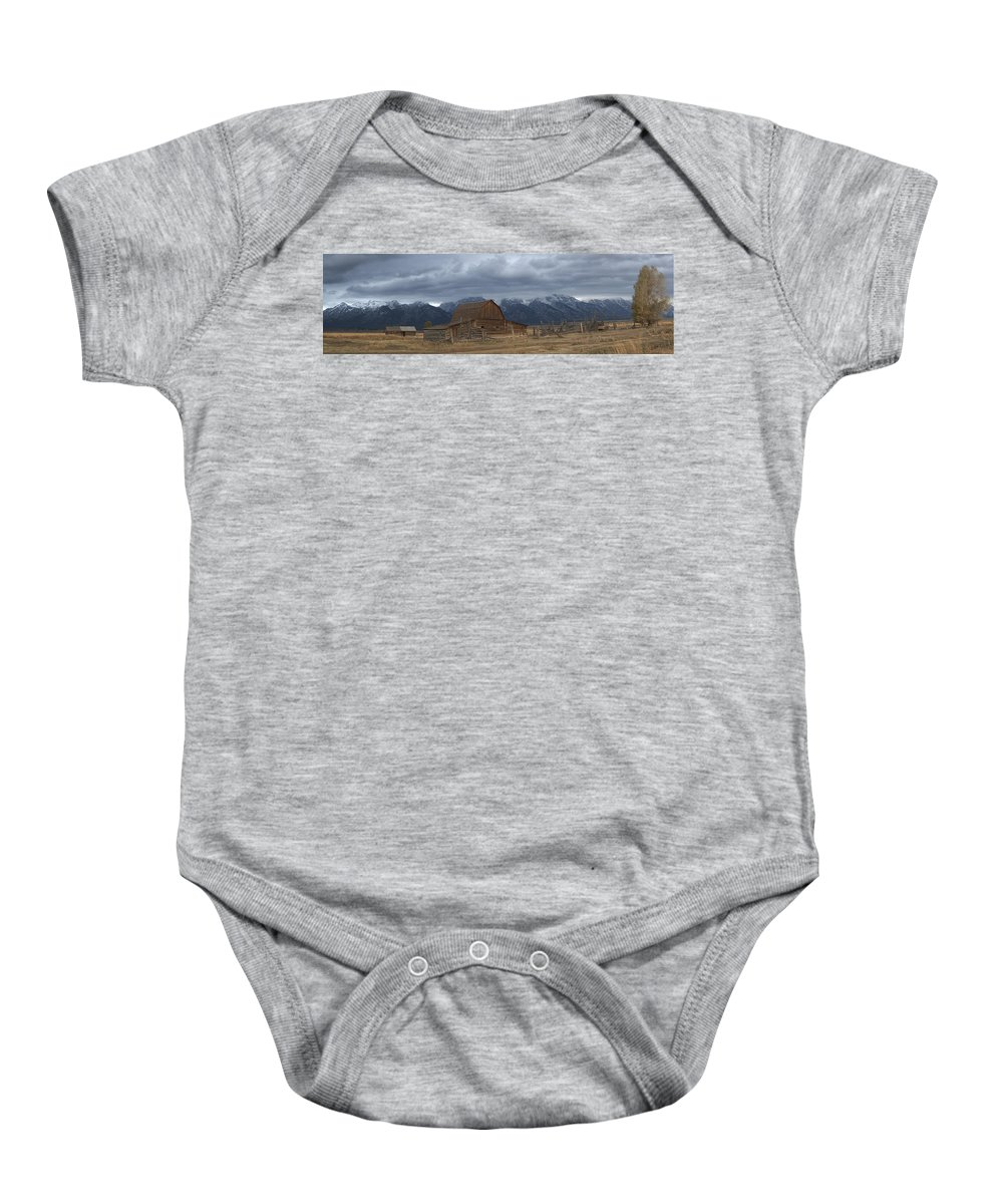 Late Snow Baby Onesie featuring the photograph North Moulton Barn Grand Tetons by Gary Langley