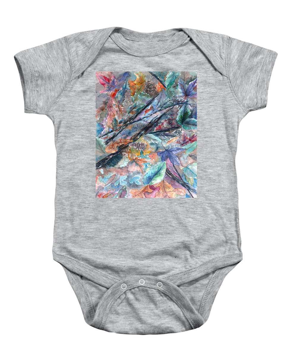 Pine Cones Baby Onesie featuring the painting Pattern of Leaves by Ben Kiger
